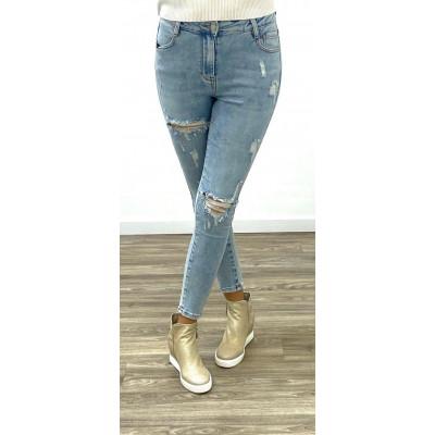 Jeans skinny bleu clair taille haute maxi destroy