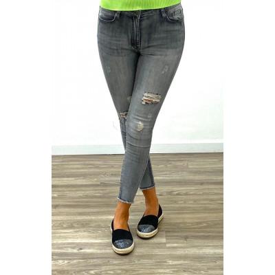 Jeans skinny gris destroy à chevilles éffilochés