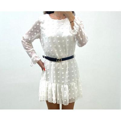 Robe pompons blanc à ceinture double anneaux