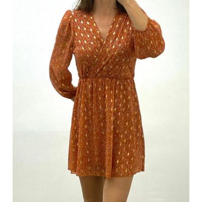 Robe cache-coeur orange à imprimé doré