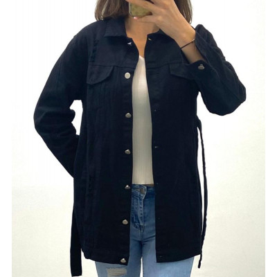 Veste en jeans noir à ceinture