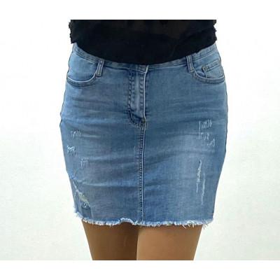 Jupe en jeans bleu éfiloché