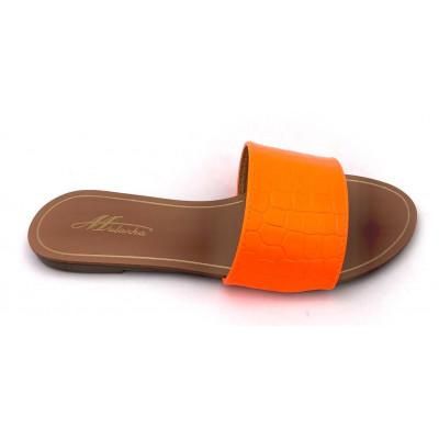 Claquettes simili-cuir orange fluo effet croco