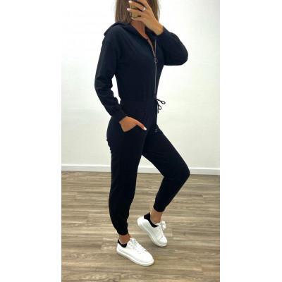 Combinaison de Joggings noir à taille à lacet