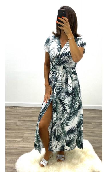Robe longue imprimée tropicale Maxi fente, manche courte...