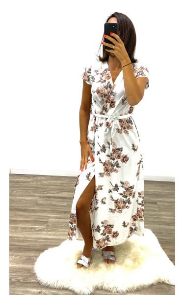 Robe longue imprimée fleurie Maxi fente manche courte...