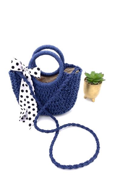 Petit sac à main demi-lune en paille avec petit foulard à...