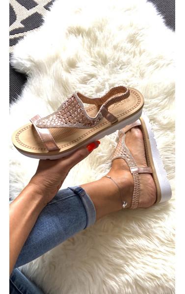 Sandales semelle compensée à paillettes et strass