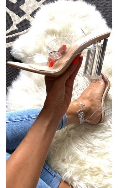 Sandales transparentes à talons carré transparent
