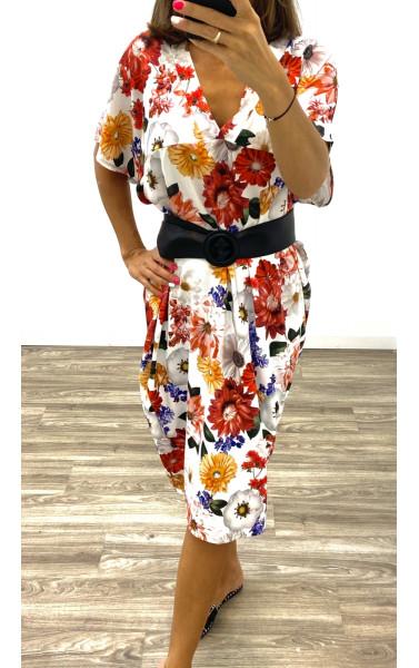 Robe longue oversize imprimé floral col V