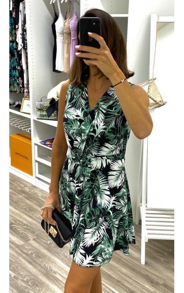 Robe courte imprimé tropical serré à la taille avec ceinture