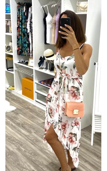 robe longue portefeuille à fines bretelles imprimé floral