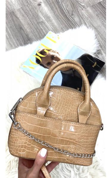 Petit sac à main demi-lune en simili-cuir croco avec...