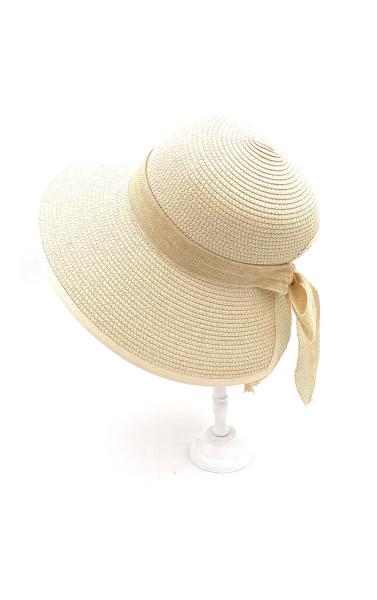 Chapeau en paille effet bob ruban ouverture à l'arrière...