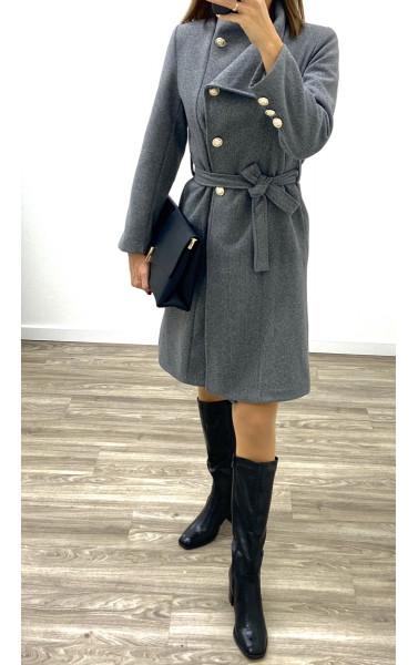Manteau mi-long en laine avec ceinture à la taille et...