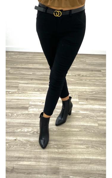 Pantalon cigarette noir avec ceinture inspiration G