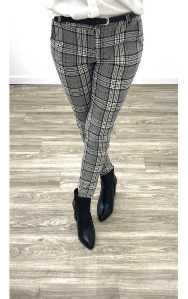 Pantalon cigarette à grand carreaux avec ceinture