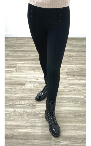 Pantalon aspect legging boutonné