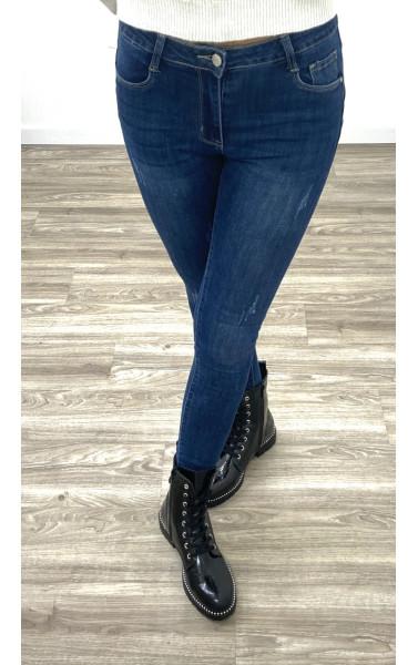 Jeans slim bleu taille haute