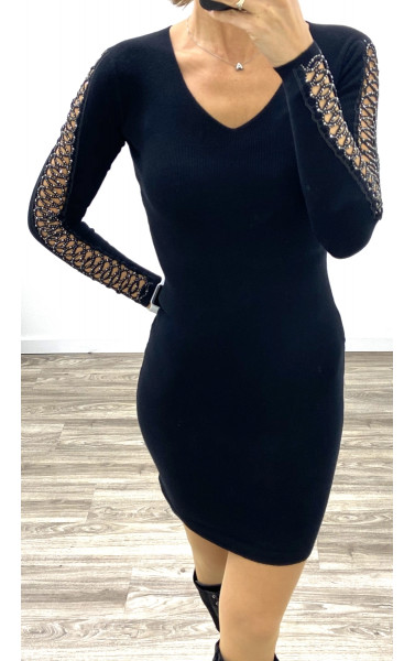 Robe pull col V ouverture avec strass le long des manches
