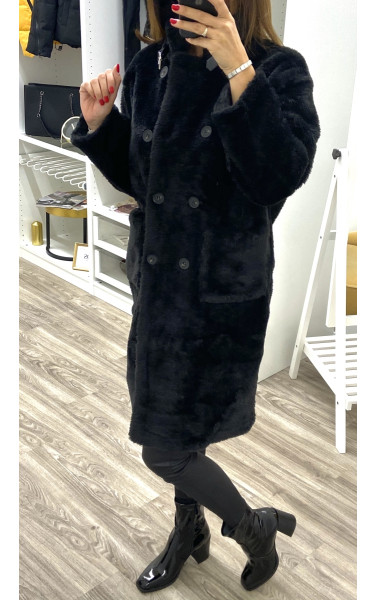 Manteau fausse fourrure à grande poche