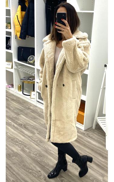 Manteau avec poche effet peau de mouton