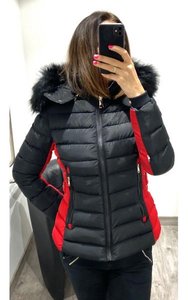 Doudoune bicolore noir et rouge à capuche