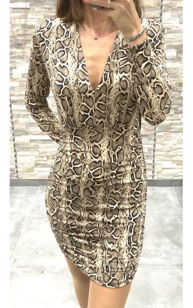 Robe drapée col V imprimé effet python