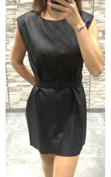Robe simili cuir avec épaulette