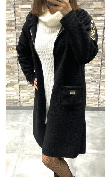 Manteau feutrine à capuche grande poche