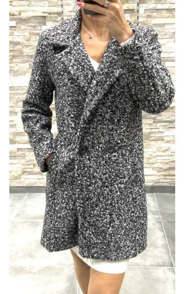 Manteau moucheté coupé boyfriend à poche