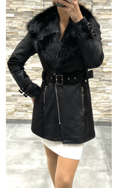 Manteau bi-matière à col fausse fourrure