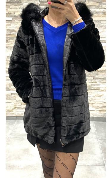 Veste mi-longue fausse fourrure à capuche réversible