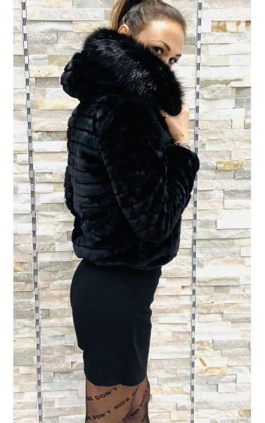 Veste à capuche fausse fourrure reversible