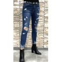 Jeans slim taille haute destroy