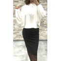 Pull court oversize avec manches bouffant