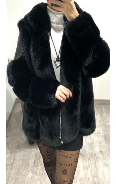 Manteau simili cuir et fausse fourrure