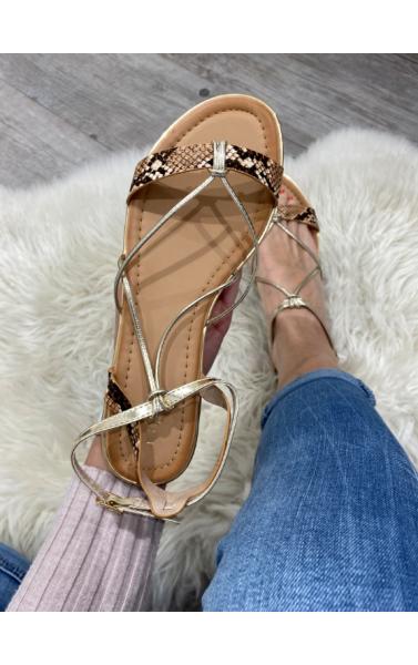 Sandales plates avec brides python et doré