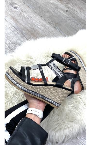 Sandales semelle compensée à talon haut