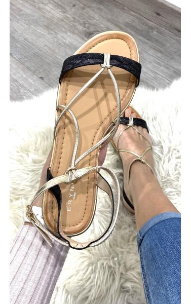 Sandales plate avec empiècement croco et bride doré