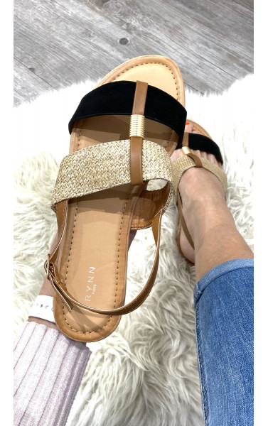Sandale plate bi-matière à double bride