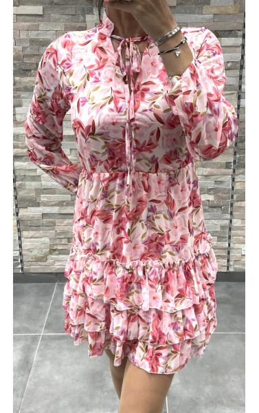 Robe imprimée fleurie élastique à la taille