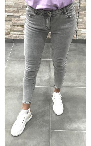 Jeans gris slim taille haute