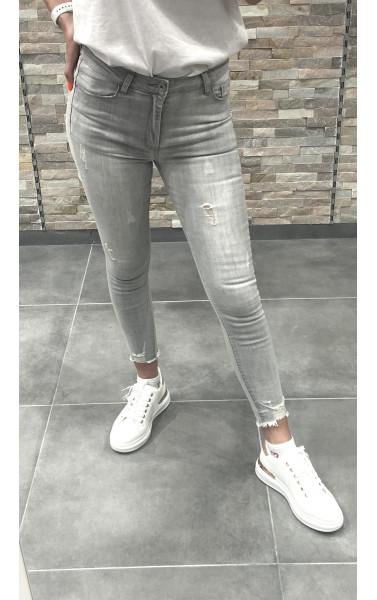 Jeans gris usé pushup avec déchirure