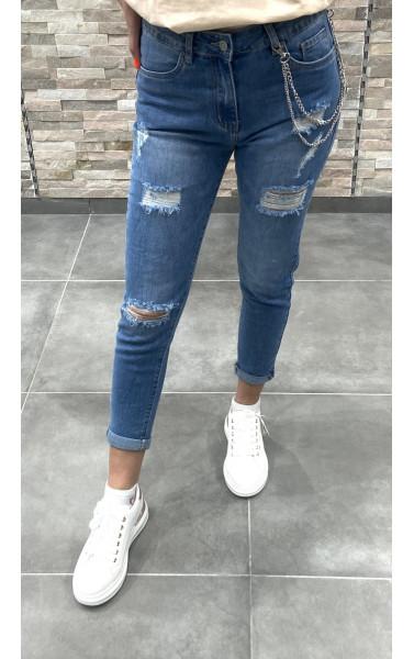 Jeans bleu push up avec déchirure
