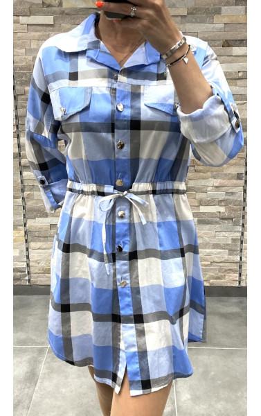 Robe chemise à carreaux effet oversize