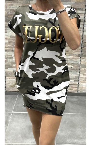 Robe T-shirt à motif camouflage