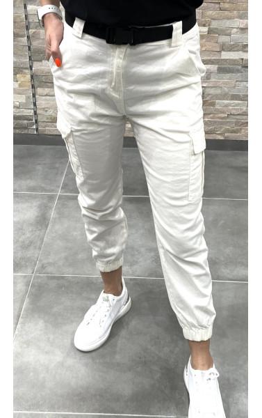 Pantalon blanc cargo à poche