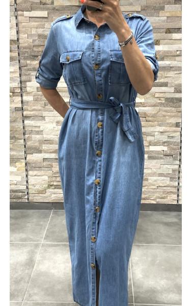 Robe chemise en jean longue