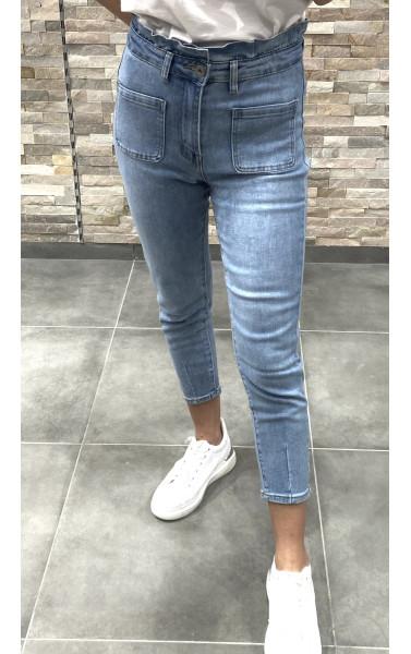 Jeans taille haute bleu clair délavée